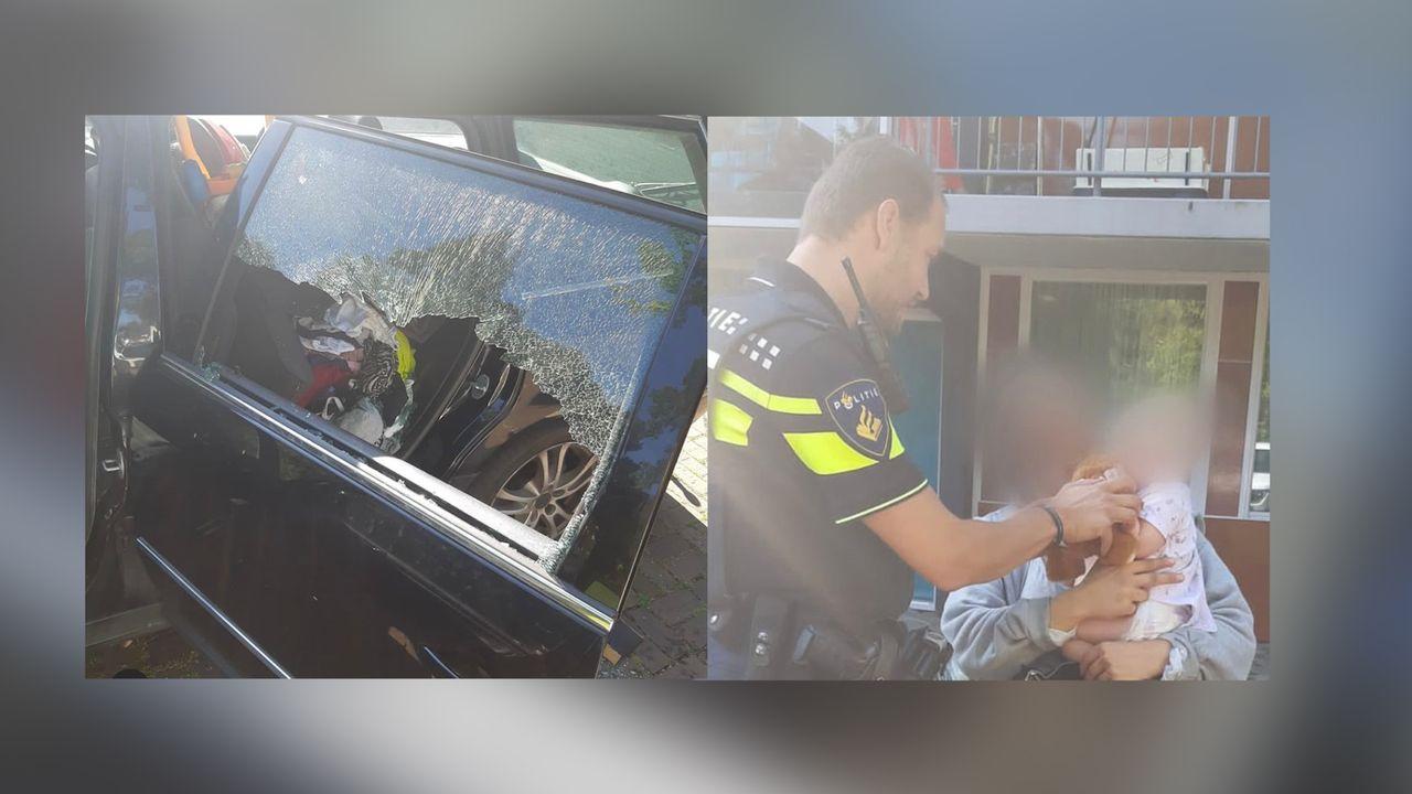 Politie Maassluis haalt kind uit warme auto
